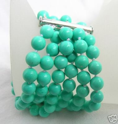 6 Strands 7-8mm Nature Turquoise Bracelet 7.5inch