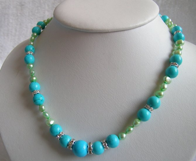 8-9mm Turquoise & Pearls Necklace 17 inch