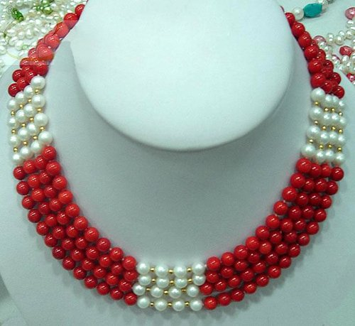 Charming 4 strands red coral & pearl necklace