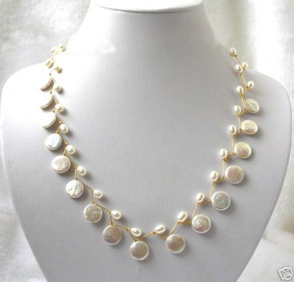 17'' handmade 12mm white coin pearls necklace