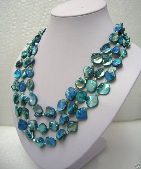 Beautiful 3 strands blue shell necklace