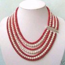 Charming 7row pearl coral necklace