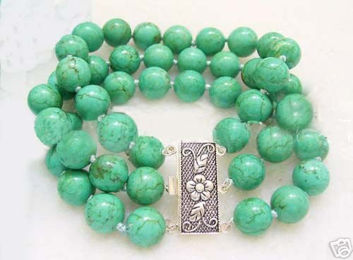 3 rows green turquoise bead bracelet