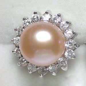 9mm pink pearl rhinestone ring 7.5#
