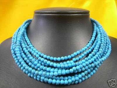 10 strings of turquoise 4mm bead necklace