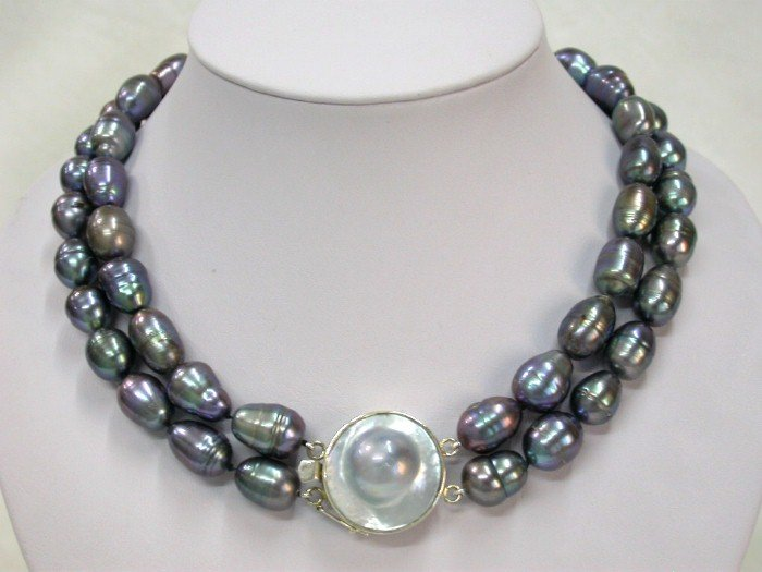 2 strand baroque black pearl mabe clasp