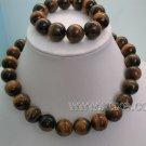Huge 14mm tigereye stone necklace and bracelet set