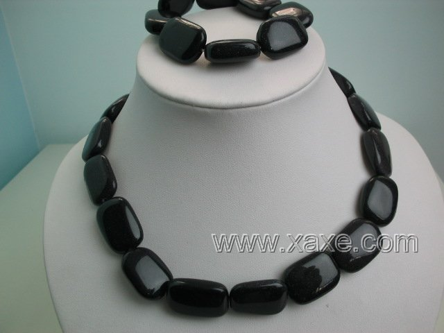 "17"""" obsidian bead necklace and elastic bracelet set"