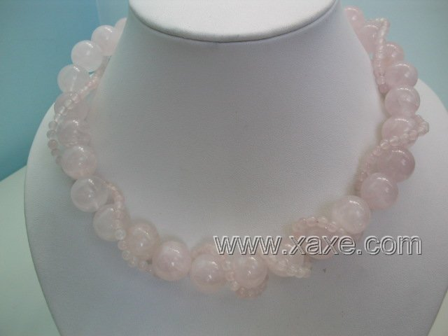 "17"""" 2 strand pink jad necklace"