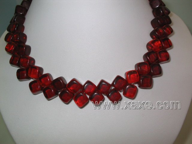 "17"""" 2 strand red square agate necklace"
