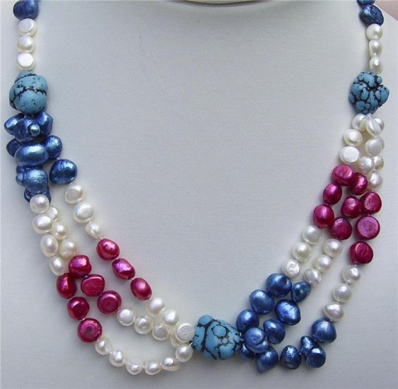 "20"""" 6-7mm flat Pearl and Turquoise Necklace"