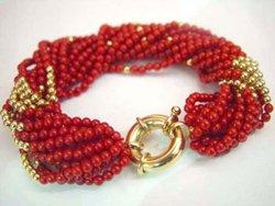 Multi-strand red coral bead bracelet
