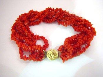 Red coral chip bracelet