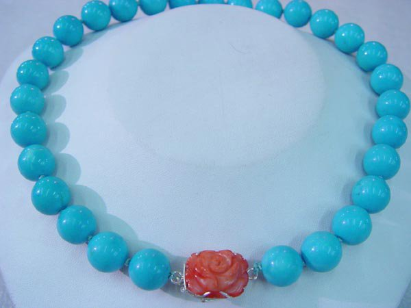 20'' blue turquoise bead necklace coral flower pendant