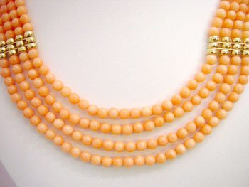4 strands pink coral bead & gild bead necklace