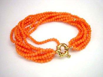 7.5'' 8row pink coral bead bracelet