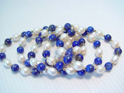 Wholesale 5 pcs pearl and lapis bead bracelet