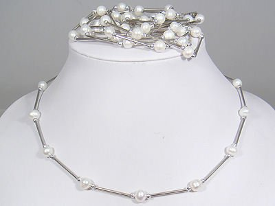 wholesale 5 pcs white pearl necklace