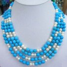 4 row turquoise bead and white pearl necklace