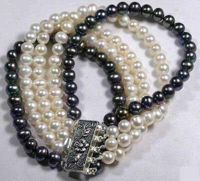 5 row black and white pearl bracelet