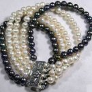 5 row black and white pearl bracelet