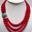 3 row red coral necklace with jade clasp