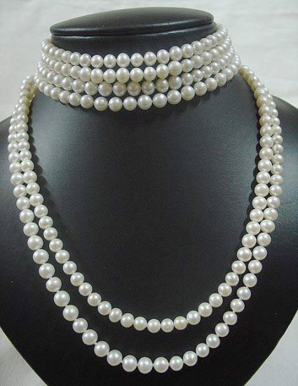 6 strands white pearl chocker and necklace