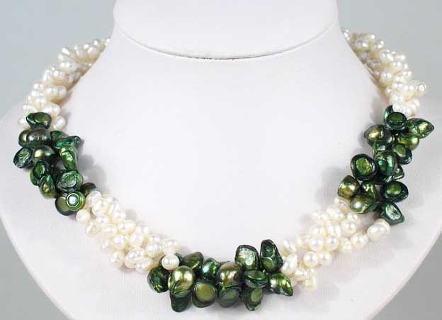 3 row white and green flat pearl twist necklace