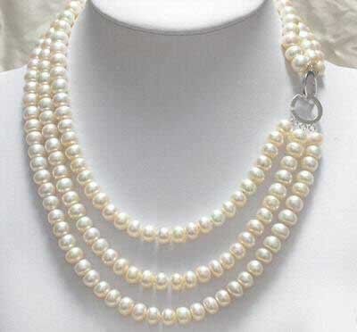 3 strands white pearl necklace silver clasp