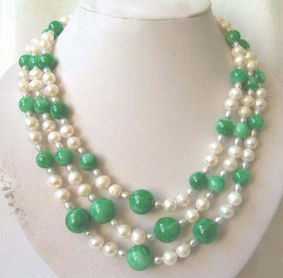 18-22'' 3 strands white pearl and jade necklace