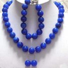 18'' blue jade necklace bracelet earrings set