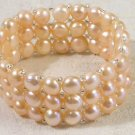 3 strand pink button pearl bracelet