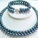 2 strands black pearl necklace bracelet set