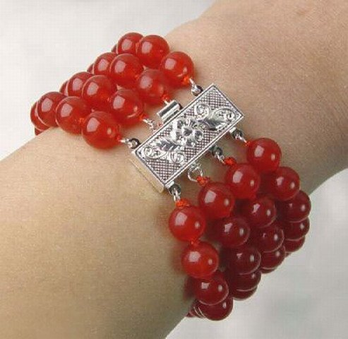 4 strands red jade bracelet