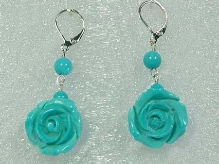 Green turquoise flower dangling earrings