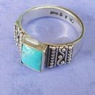Turquoise ring square shape sterling silver