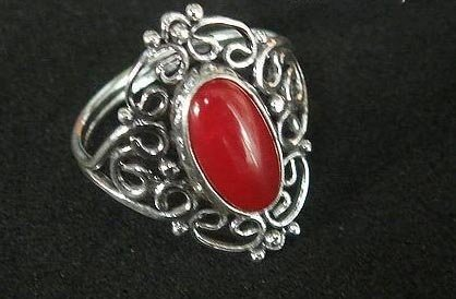 Vintage red coral ring sterling silver