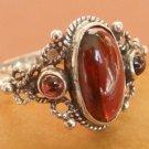 Vintage garnet ring sterling silver