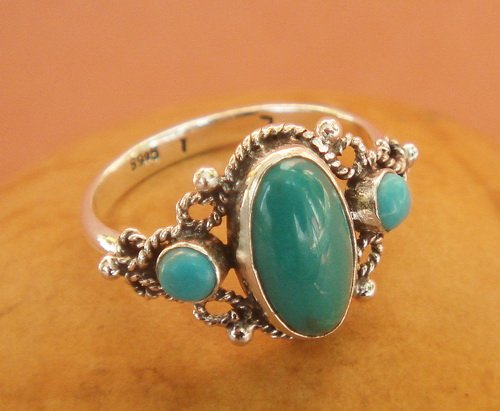 Vintage turquoise ring 3 piece