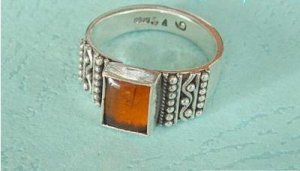 Square amber ring sterling silver holder