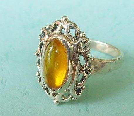 Vintage amber ring sterling silver