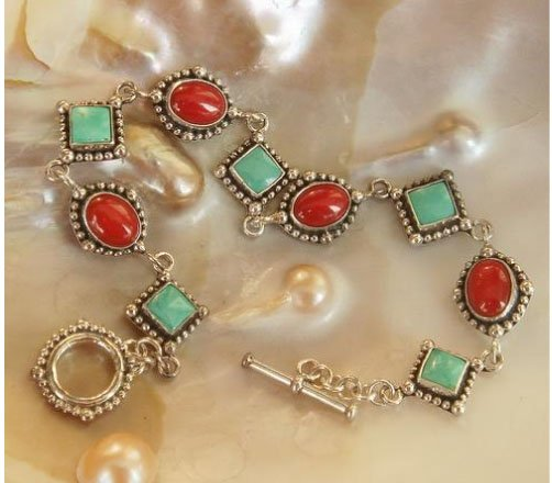 Elegant 7'' turquoise and coral bracelet silver chain