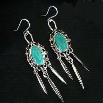 Turquoise earrings silver dangle