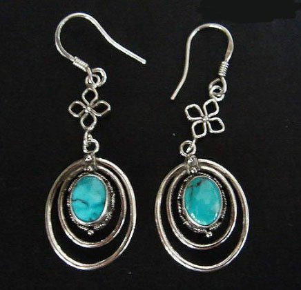 Vingtage turquoise earrings silver