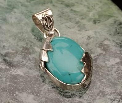 Turquoise pendant oval shape silver
