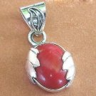 Red coral pendant oval shape silver