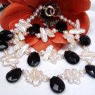 17'' freshwater pearl and agate bead necklace