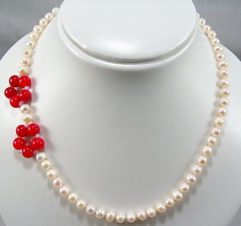 17'' white pearl and coral bead flower necklace