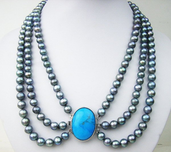 3 strands black pearl and turquoise clasp