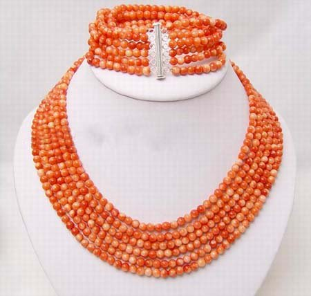 6 strands 6mm pink coral necklace bracelet set